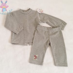 Ensemble t-shirt gris + Legging bébé fille 3 MOIS