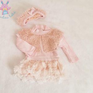 Robe + Béret rose saumon strass et tulle bébé fille 3 MOIS