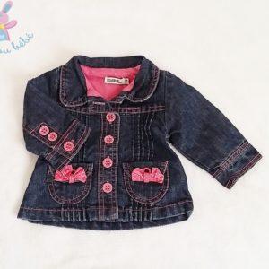 Blouson jean bleu rose bébé fille 3 MOIS TAPE A L'OEIL