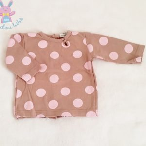 T-shirt beige pois rose bébé fille 3 MOIS