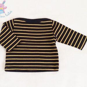 T-shirt rayé noir doré bébé fille 3 MOIS PETIT BATEAU