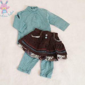 Ensemble Jupe-legging + Sous-pull rayé bébé fille 3 MOIS