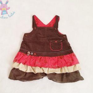 Robe bretelles velours marron et volants bébé fille 3 MOIS