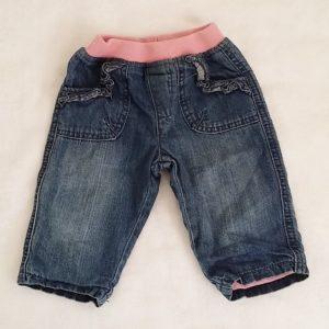 Pantalon jean bleu rose doublé bébé fille 6/9 MOIS