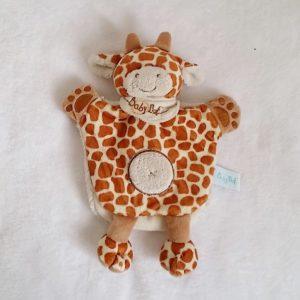 Doudou marionnette Girafe Tiwi marron beige savane BABY NAT