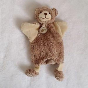 Doudou Ours marionnette marron beige BABY NAT