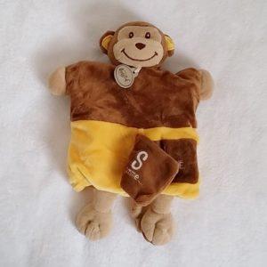 Doudou marionnette S comme SINGE marron jaune beige BABY NAT