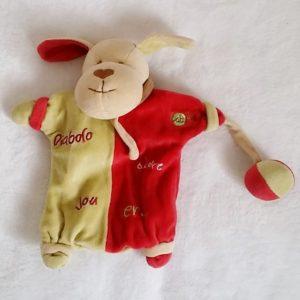 Doudou marionnette Chien rouge vert «Diabolo adore jouer» BABY NAT