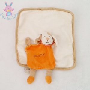 Doudou plat Chien carré blanc beige orange BABY NAT