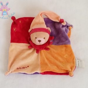 Doudou plat Ours orange violet rouge BABY NAT