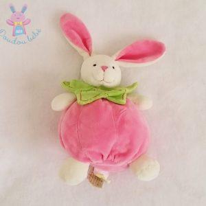 Doudou Lapin boule rose et vert BABY NAT