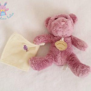 Doudou Ours violet mouchoir beige BABY NAT
