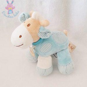 Doudou Cheval Vache bleu beige BABY NAT