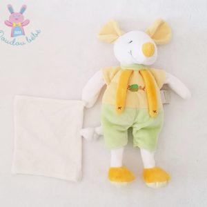 Doudou Souris jaune vert mouchoir blanc BABY NAT