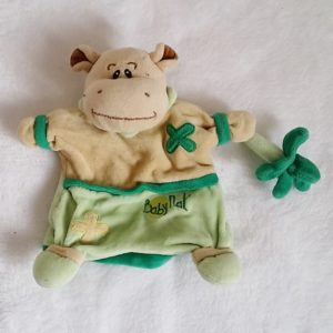 Doudou marionnette Hippopotame vert beige BABY NAT