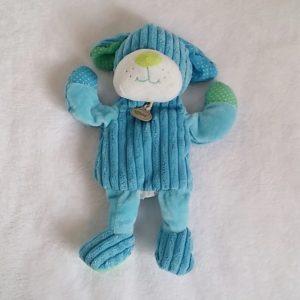 Doudou marionnette Chien bleu BABY NAT