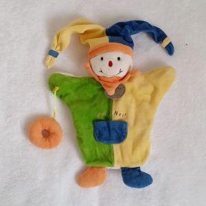 Doudou marionnette Lutin vert jaune bleu BABY NAT