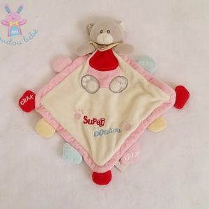 Super doudou plat Ours rose blanc BABY NAT