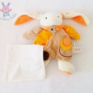 Doudou Lapin orange marron mouchoir BABY NAT