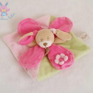 Doudou plat Lapin vert rose pétales BABY NAT