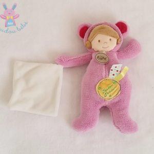Doudou d'amour Poupée rose mouchoir blanc BABY NAT