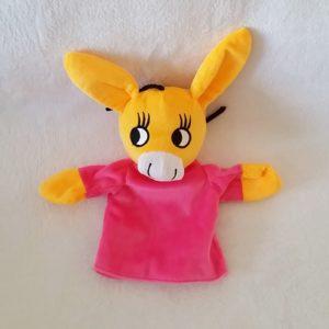 Doudou marionnette Ane Nana rose PIMCHOU
