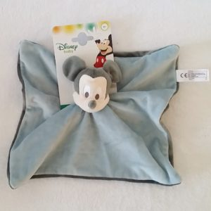 Doudou plat Mickey gris bleu DISNEY