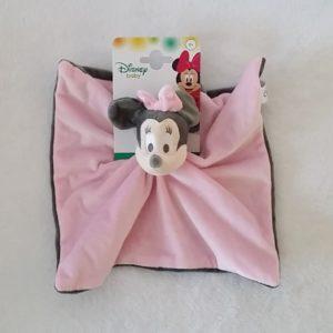 Doudou plat Minnie gris et rose DISNEY