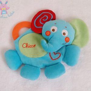 Doudou plat Eléphant bleu rouge vert anneau de dentition CHICCO