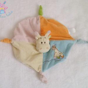 Doudou plat Girafe bleu orange rose beige BABY CUDDLES