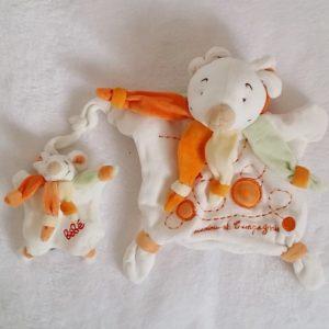 Doudou marionnette Souris orange vert et bébé DOUDOU ET COMPAGNIE