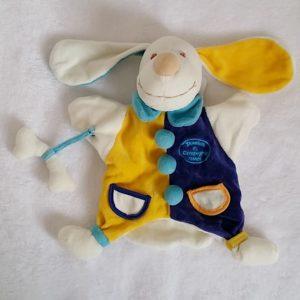 Doudou marionnette Chien bleu jaune blanc os DOUDOU ET COMPAGNIE