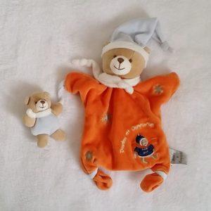 Doudou marionnette Ours orange flocons et bébé DOUDOU ET COMPAGNIE