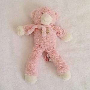 Doudou Ours bonbon rose blanc 30 cm DOUDOU ET COMPAGNIE