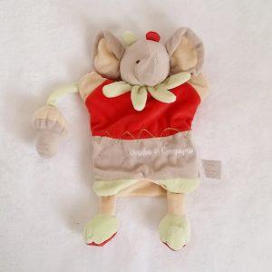 Doudou marionnette éléphant gris rouge champignon DOUDOU ET COMPAGNIE
