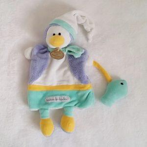 Doudou marionnette Pingouin vert bleu poisson GRAINES DE DOUDOU ET COMPAGNIE