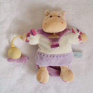 Doudou marionnette Hippopotame écru mauve escargot DOUDOU ET COMPAGNIE