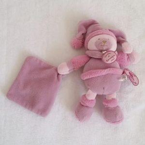 Doudou Ours mouchoir rose violet Douceur macaron DOUDOU ET COMPAGNIE