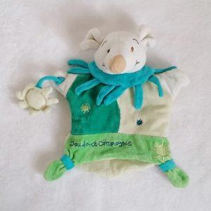 Doudou marionnette Souris soleil vert blanc DOUDOU ET COMPAGNIE
