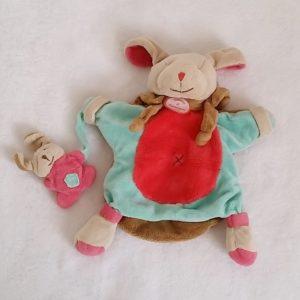 Doudou marionnette Chien et bébé fraise microfibre DOUDOU ET COMPAGNIE