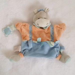 Doudou marionnette Ane orange bleu étiquettes DOUDOU ET COMPAGNIE