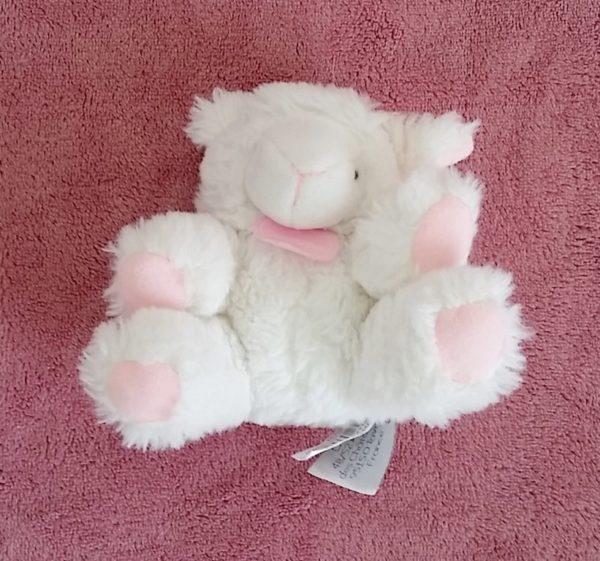Doudou Mouton blanc rose hochet DOUDOU ET COMPAGNIE