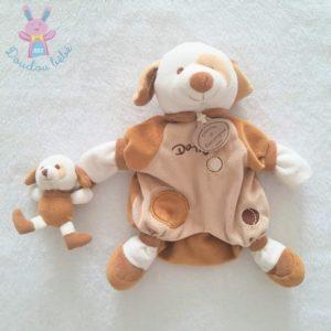 Marionnette Chien Daffy et bébé marron blanc DOUDOU ET COMPAGNIE