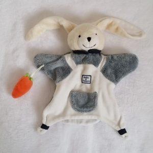 Doudou Lapin marionnette blanc gris carotte DOUDOU ET COMPAGNIE