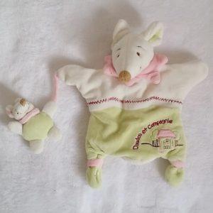 Doudou marionnette Souris Barbotine bébé vert rose blanc DOUDOU ET COMPAGNIE