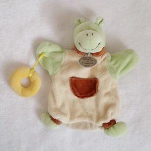 Doudou marionnette Hippopotame vert bouée jaune DOUDOU ET COMPAGNIE