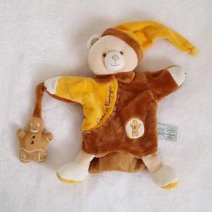 Doudou marionnette Ours marron orange pain d'épices DOUDOU ET COMPAGNIE