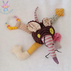 Doudou Rat Ratos marron coloré jouet éveil bébé DEGLINGOS