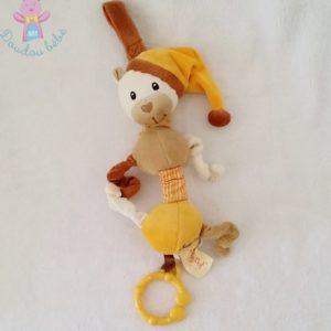 Doudou Ours jaune cannelle jouet d'éveil vibrant BABY NAT