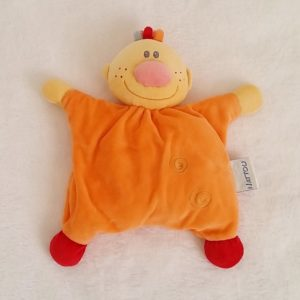 Doudou Garçon Billy orange semi-plat grelot NATTOU